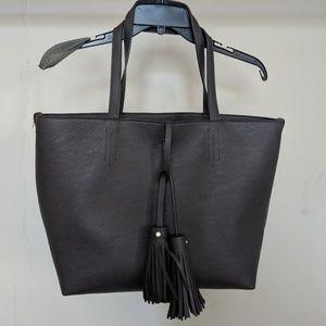 2-in-1 Gray Tote Bag w/ Tassels